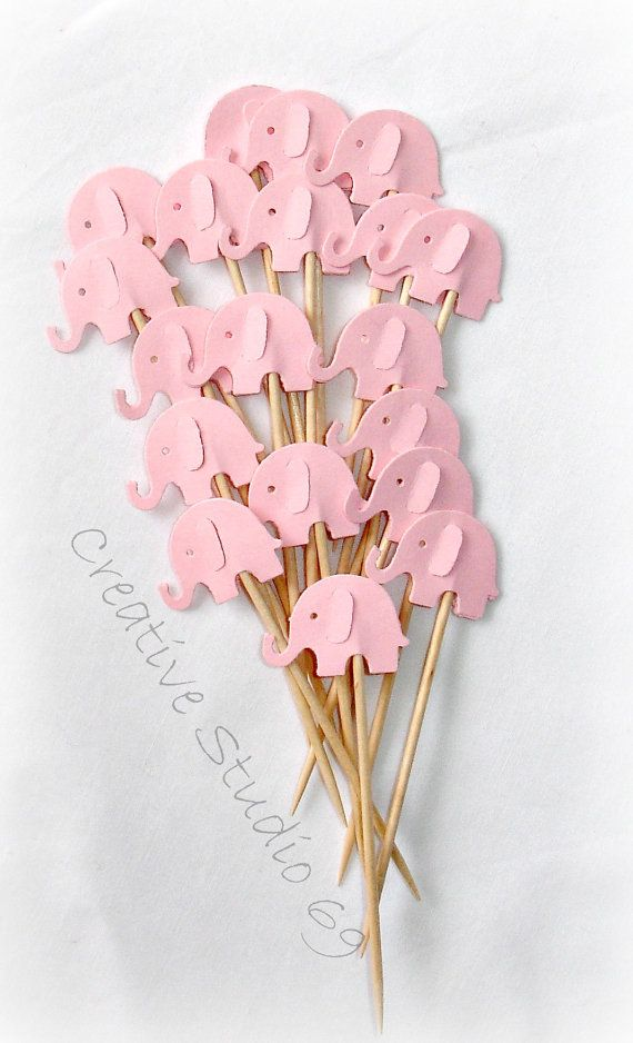 Pink Elephant Cupcake Toppers Food Picks-Set of 24 by StudioIdea