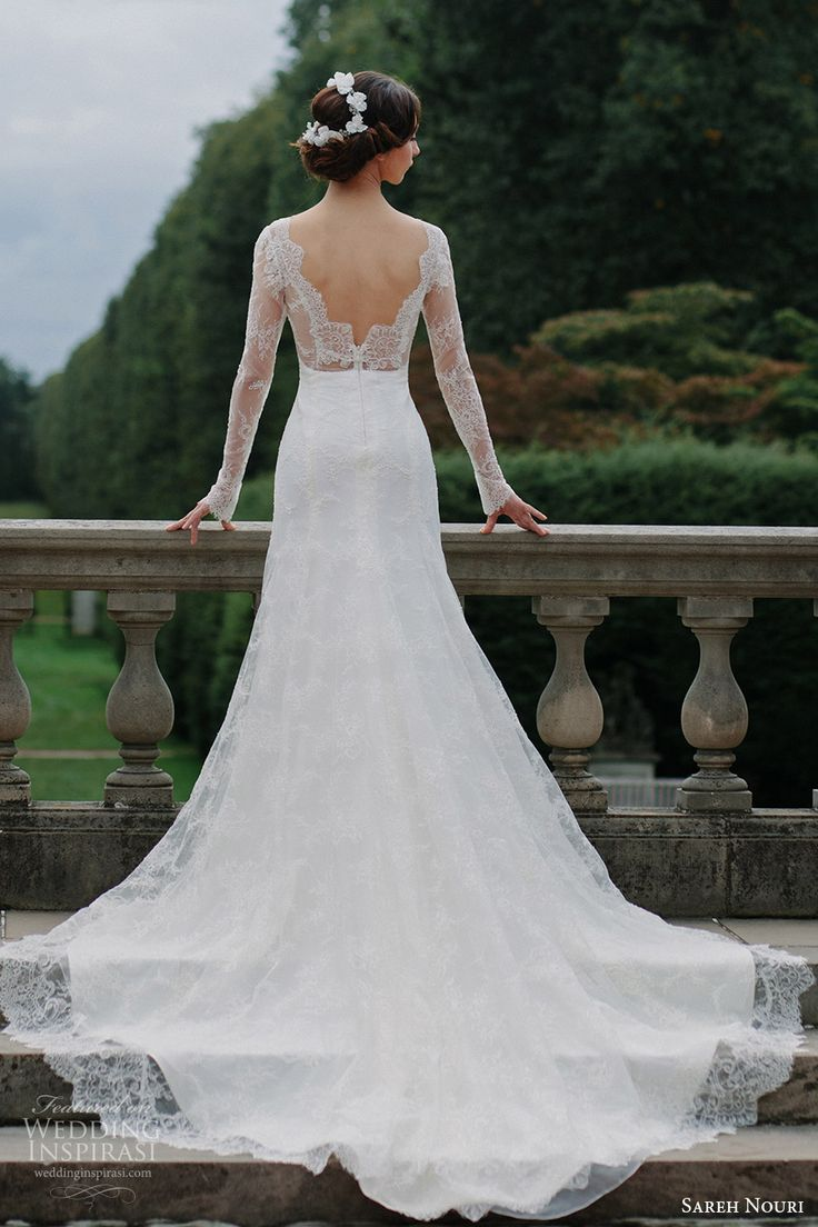 sareh nouri bridal fall 2016 long sleeves sweetheart illusion jewel neck lace…