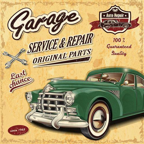 Retro auto service and repair poster vector 04