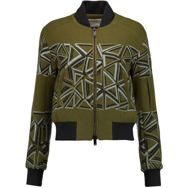 Peter Pilotto Wool-blend bomber jacket (4 420 SEK) ❤ liked on Polyvore featuring outerwear, jackets, army green, army green bomber jacket, peter pilotto, olive green jacket, green military jackets and olive jacket