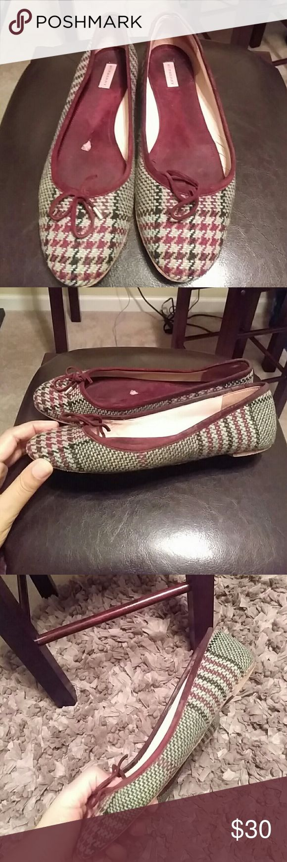 FUC! Authentic Burberry Ballet Flats Sz. 8.5 FUC! Fair used condition. Authentic Burberry Ballet Flats Sz. 8.5 (38.5) Very loved and very worn Burberry ballet flats...but Burberry none the less.  Bow tie front both missing other gold cap. Houndstooth design.  Green, burgundy and black. Plenty of life left.... Vintage. Please look at pictures closely to file connection as hooked opinion may differ from mine on the condition. Burberry Shoes Flats & Loafers