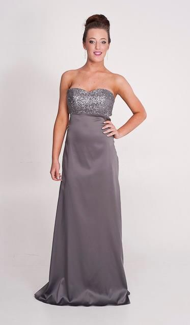 Jody: sequin bling bodice with low back. Perth designer of ball gowns and evening wear.