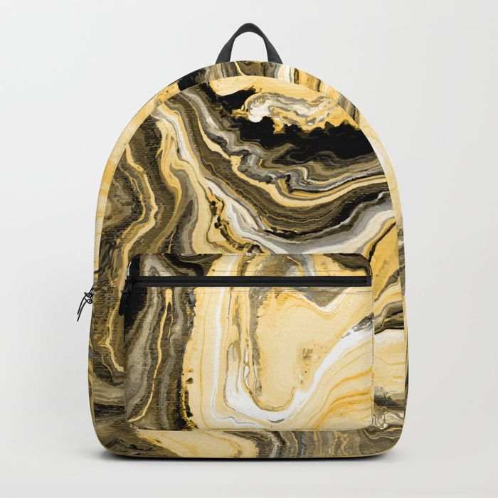 """Painted Gold backpack by Fimbis     Fluid art, painting, golden, marble, paint, interiors, interior design, fashionista, ________ Our Backpacks are crafted with spun poly fabric for durability and high print quality. Thoughtful details include double zipper enclosures, padded nylon back and bottom, interior laptop pocket (fits up to 15""""), adjustable shoulder straps and front pocket for accessories."""
