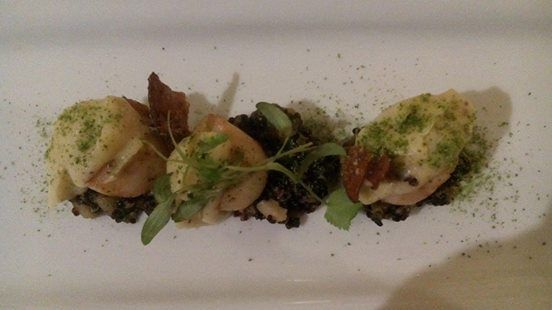 Delicious first course NZ scallops from Te Waonui's Degustation menu
