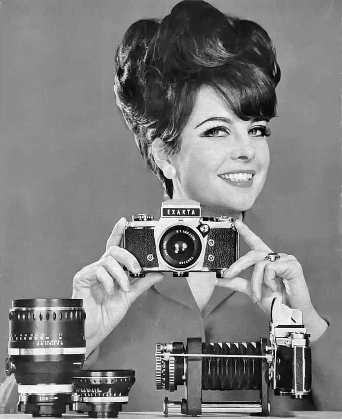 "The East German ""Exakta girl"" illustrated promotions of the domestic single-lens reflex camera in the 1960s"