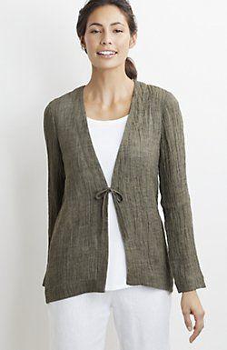 Pure chaqueta de lino arrugado Jill