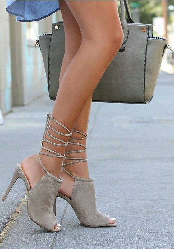 The Steve Madden Sophie Taupe Suede Leather Leg Wrap Heels have the softest  suede upper with long laces that wrap several times around the calf!