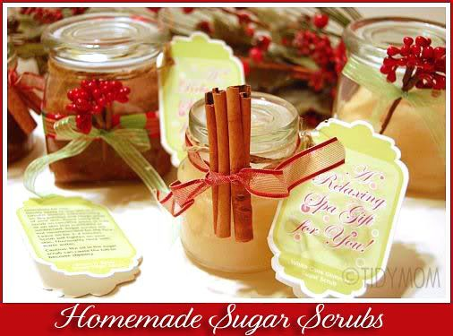 Hydrate your hands and feet with two easy to make homemade sugar scrub recipes. Easy to make and perfect for gifting at www.TidyMom.net