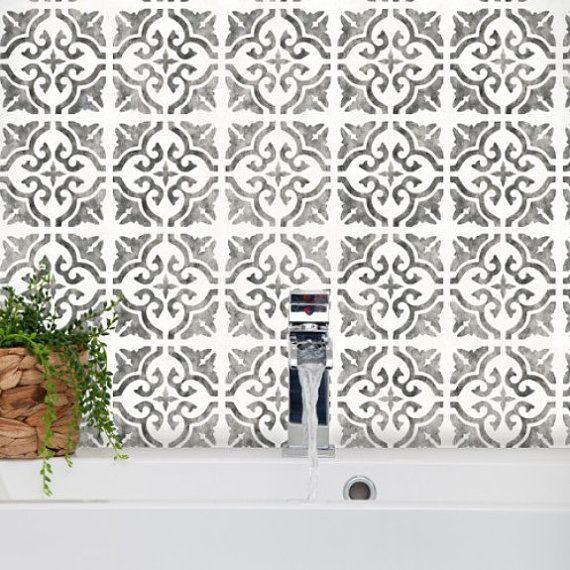 Seville Tile Stencil Floor Wall Moroccan Large Reusable