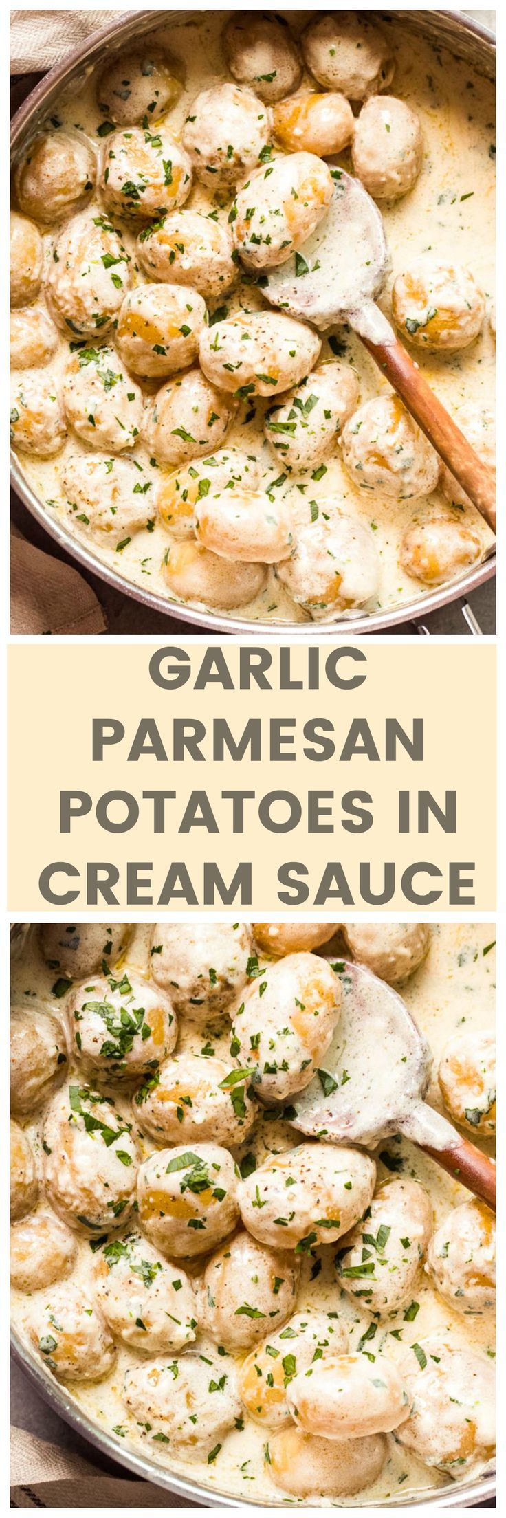 Garlic Parmesan Potatoes in Cream Sauce