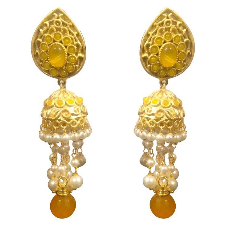 Yellow White Earrings Designer Stuff
