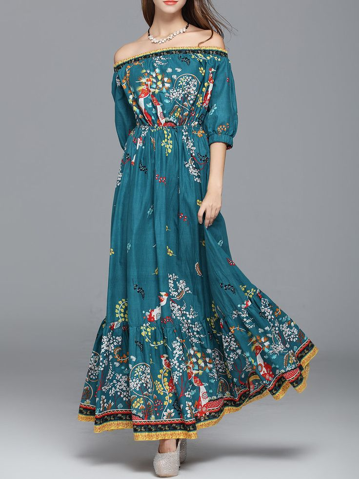 #AdoreWe StyleWe Maxi Dresses - CICI WANG Aqua Printed Floral Balloon Sleeve Off Shoulder Maxi Dress - AdoreWe.com