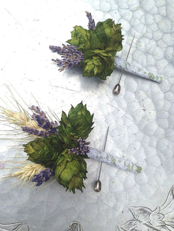 Boutonniere, hops and wheat by bohemianbouquets on Etsy https://www.etsy.com/listing/189565403/boutonniere-hops-and-wheat