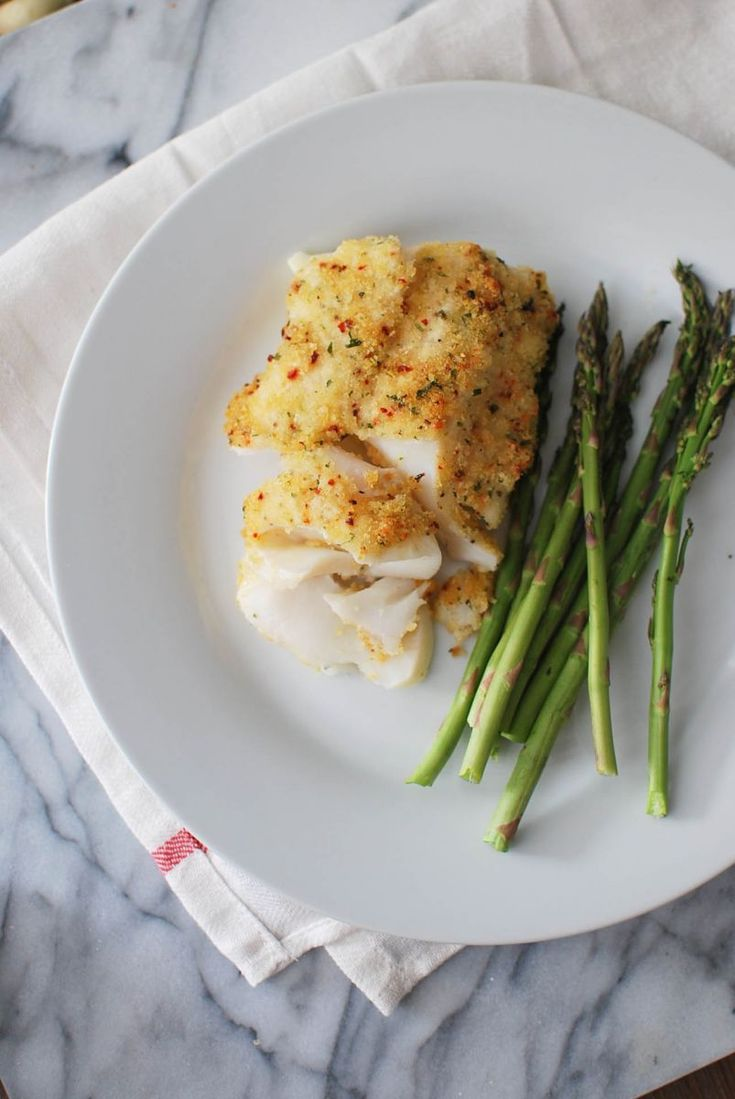 Parmesan-crusted Cod and Roasted Asparagus