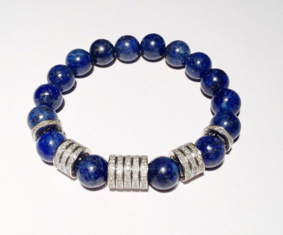 2,86 carat DIAMOND and blue bracelet, Diamond bracelet with blue lapis, blue bracelet with diamond, FREE SHIPPING