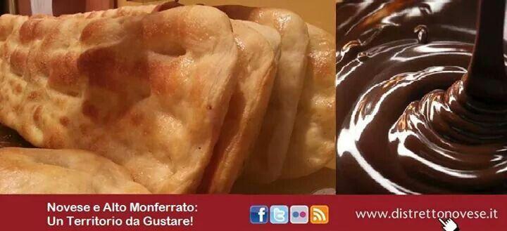 Focaccia novese appena sfornata abbinata alla crema di cioccolato....#distrettodelnovese #unterritoriodagustare