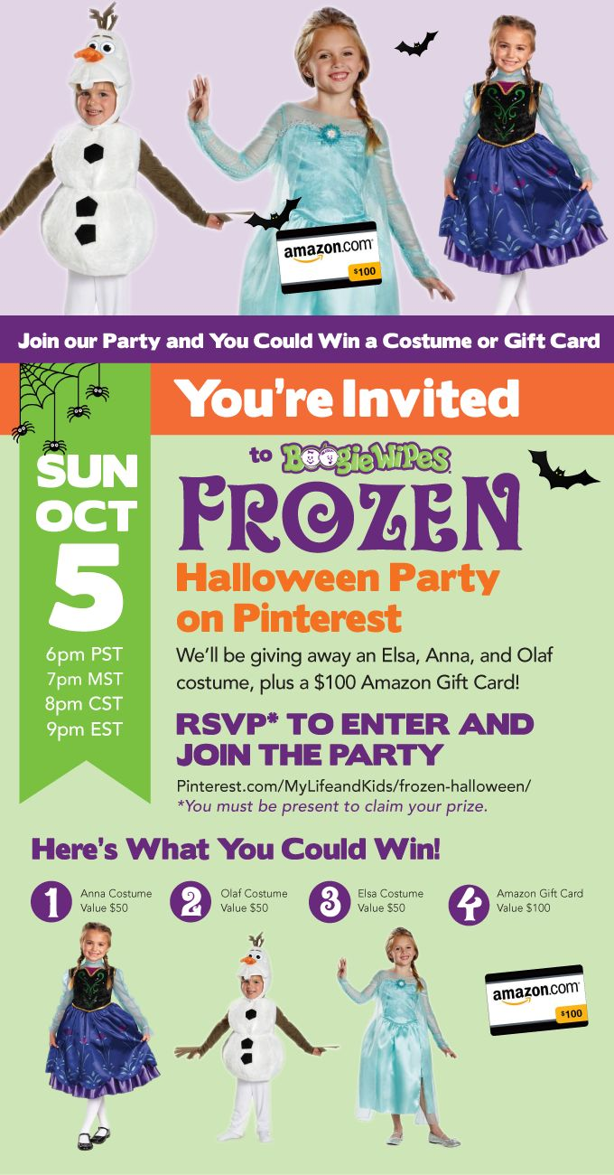 Join us for the @boogiewipes Frozen Halloween Pinterest Party! Great pins and even greater prizes! RSVP to get in on the action.