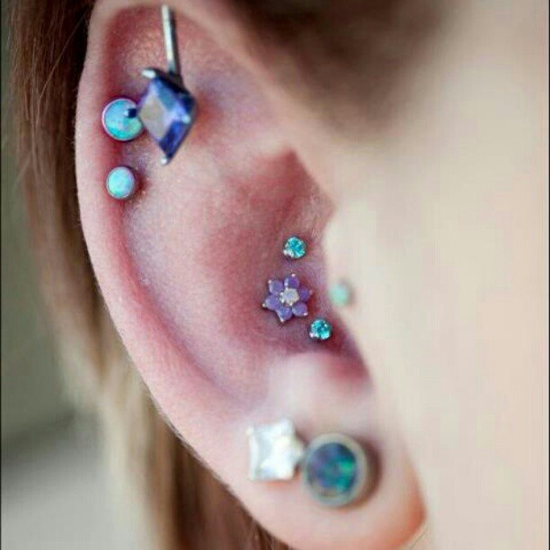 Triple conch piercing featuring a 14k White Gold flower with Tanzanite gems and a white opal center. The flower is accented with prong set Tiffany Blue gems. - @btwbodyarts- #webstagram