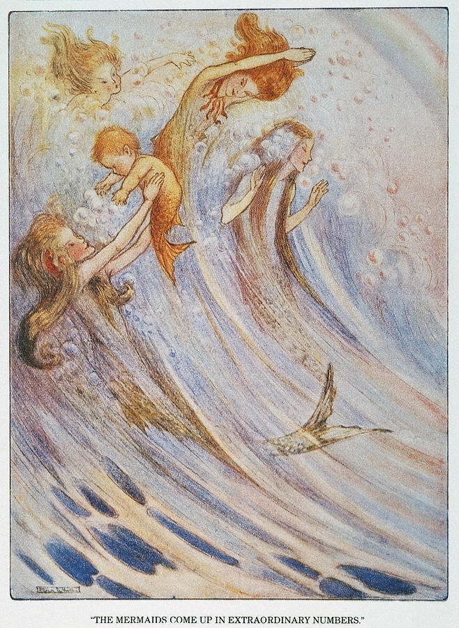 BARRIE: PETER PAN. 'The mermaids come up in extraordinary numbers to play with their bubbles.' Illustration by Flora White for an early edition of Sir James M. Barrie's 'Peter Pan.'