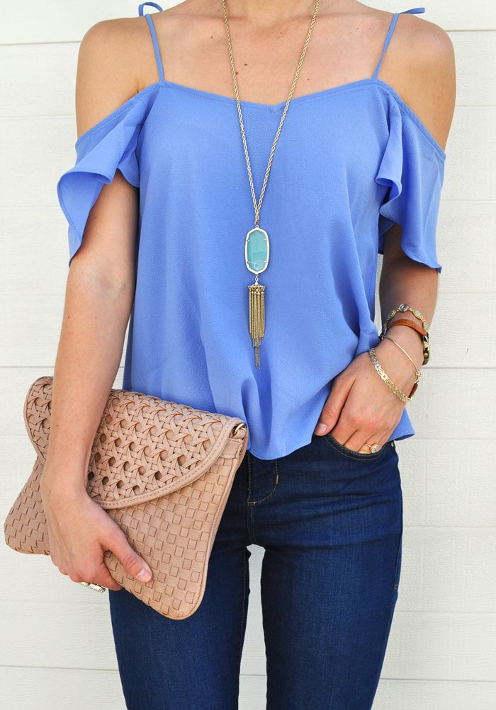 LivvyLand // periwinkle off the shoulder top + nude clutch!