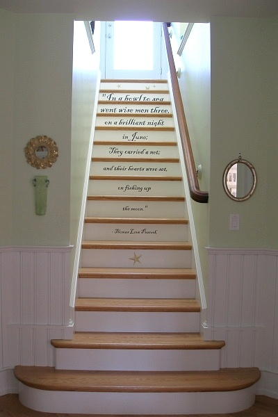 Quotation inscribed on each stair riser. One of an extensive number of gorgeous staircase images on this website.