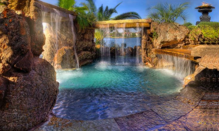 Best 25 luxury pools ideas on pinterest beautiful pools for Luxury pools with waterfalls
