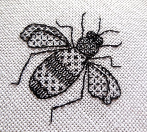 Bee blackwork embroidery kit by sarahhomfray on Etsy