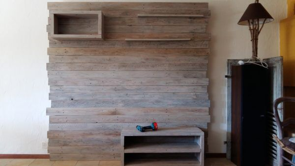 Pallet Entertainment Center Wall / Meuble Tv En Palette TV Stand & Rack