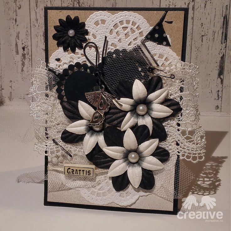 Bursdagskort svart/hvitt & kraft