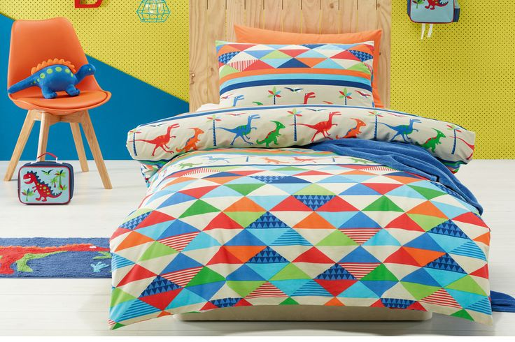 It's brightly decorated with cartoon dinosaurs and kid's will love decking their bed out with this cool Duvet Cover Set by Jiggle and Giggle | Harvey Norman New Zealand
