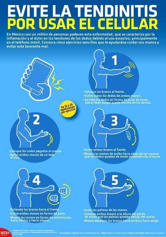 Como evitar la tendinitis al usar el celular. #tendinitis #celular #infografía #infographic