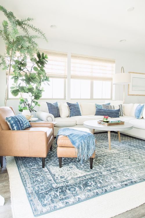 PURE SALT INTERIORS // MARISOL PROJECT // STYLING // Vintage Rug, Indigo Pillows, Leather Chair, Woven Woods, West Elm, Concrete Coffee Table, Wood Floors