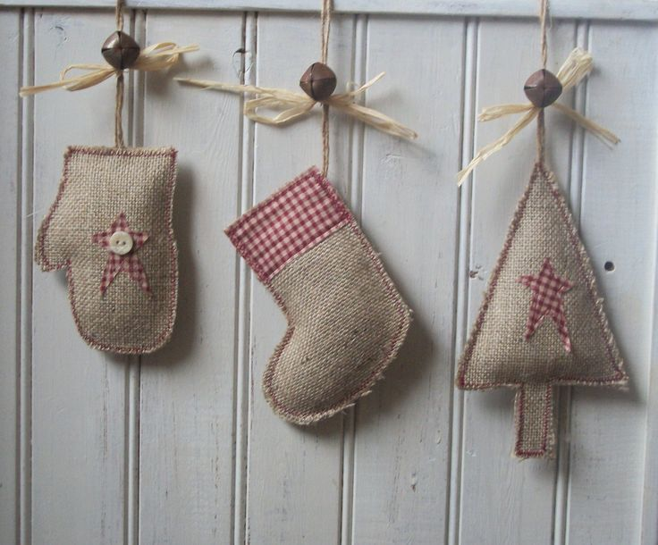 Handmade Rustic Christmas Tree, Stocking & Mitten Decoration made from hessian / burlap & homespun check fabric with frayed edges to look vintage. Decorated with a rusty bell, raffia bow and a twine loop for hanging.