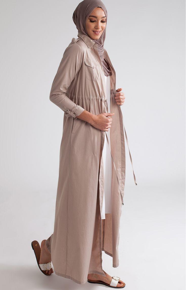Shirted Kimono Nude Poplin  Modestwear  Ss17  Hijab -9701