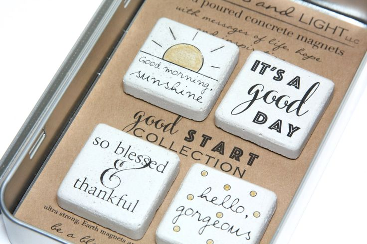 FREE SHIPPING.Good Start Collection. Rustic Refrigerator Magnets.1.25 x 1.25 All Occasion Gift. Gift Tin with Ribbon. Hand painted Magnets by blessingandlight on Etsy https://www.etsy.com/listing/214476181/free-shippinggood-start-collection