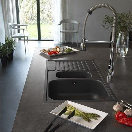 Franke Vector Sink : black granite kitchen sink perfect for a a kitchen bustling with ...