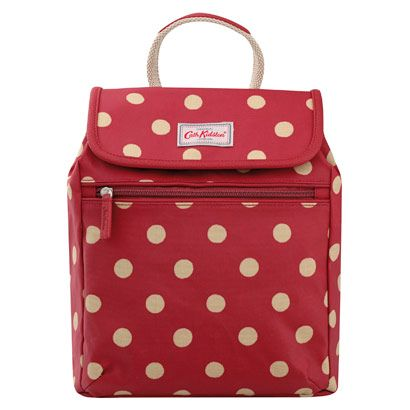 Button Spot Mini Backpack   Cath Kidston   A neat cherry red rucksack that you can wear as a fashiony mini backpack, or use as a simple shoulder bag, simply by adjusting the straps. Special popper fastenings keep your possessions safe and button together quickly.