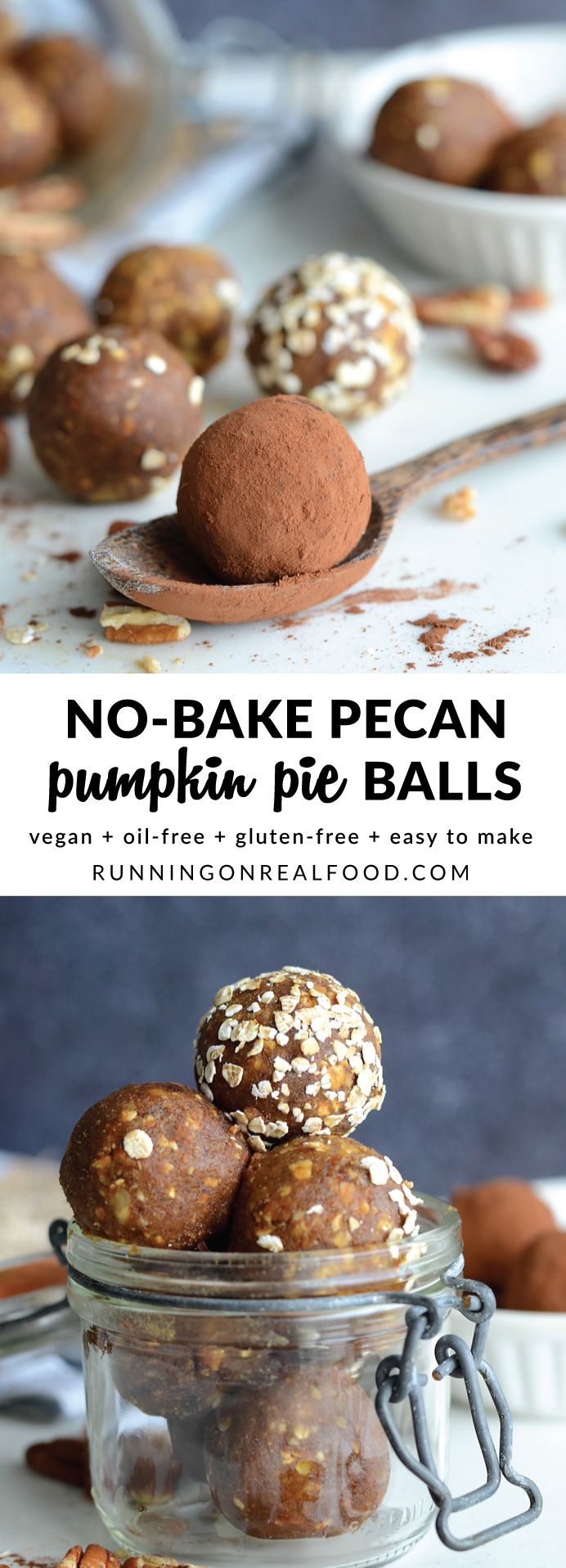 These Raw Pecan Pumpkin Pie Balls are ready in minutes with just a few simple ingredients. Gluten-free, vegan, oil-free, no baking and so easy to make!  Recipe: http://runningonrealfood.com/pecan-pumpkin-pie-balls/