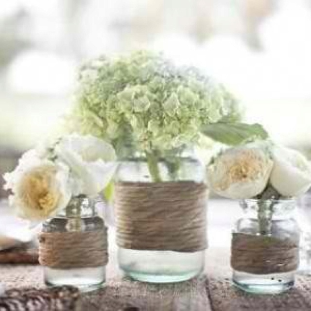 Twine around mason jars and flowers!
