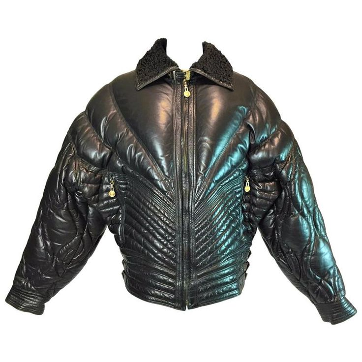 A/W 1992 Gianni Versace Men's Bondage Apres Ski Black Leather Jacket Coat    From a collection of rare vintage coats and outerwear at https://www.1stdibs.com/fashion/clothing/coats-outerwear/