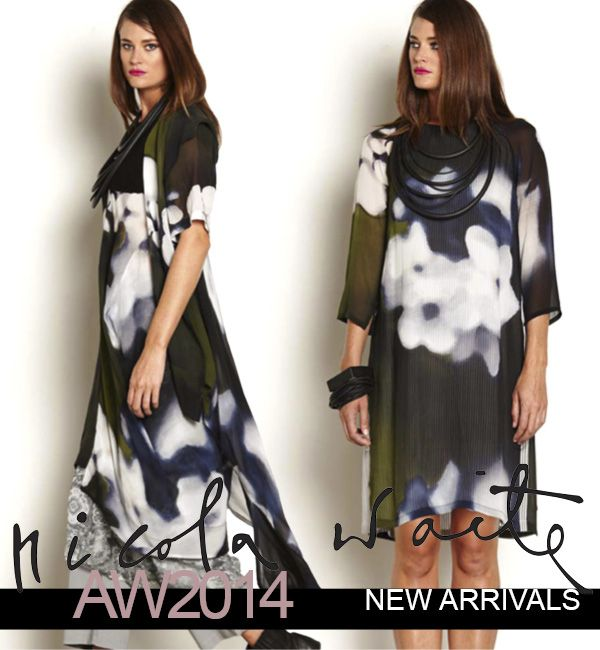 This beautiful blur print has arrived in 3 styles - asymmetric duster, step hem tunic and layer dress. Stunning, worn back with both black and silver grey!