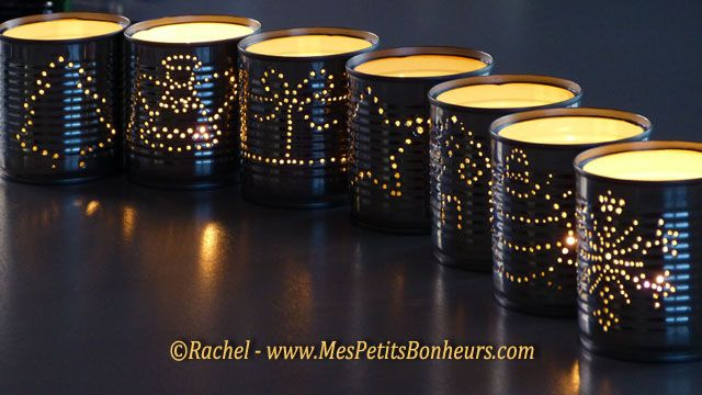 Luminary tin can candle holders are great for the holidays! Check out our blog post on how to create them. (Photo credit goes to Rachel-MesPetitsBonheurs website.