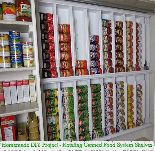 Homemade DIY Project - Rotating Canned Food System Shelves