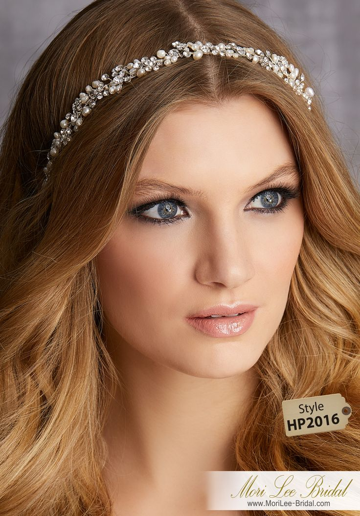STYLE HP2016Freshwater Pearl and Rhinestone Headband with Satin Ribbon TiesAvailable in Silver