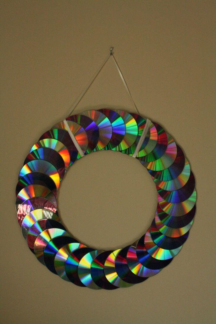 Glass craft ornaments - A Layered Cd Wreath