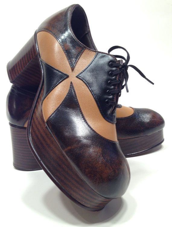 27d5a6b1eb5f 1970 S Mens 10 1 2 Amazinig 2Tone DISCO PLATFORM Shoes New Old. Dead Stock  in 2019