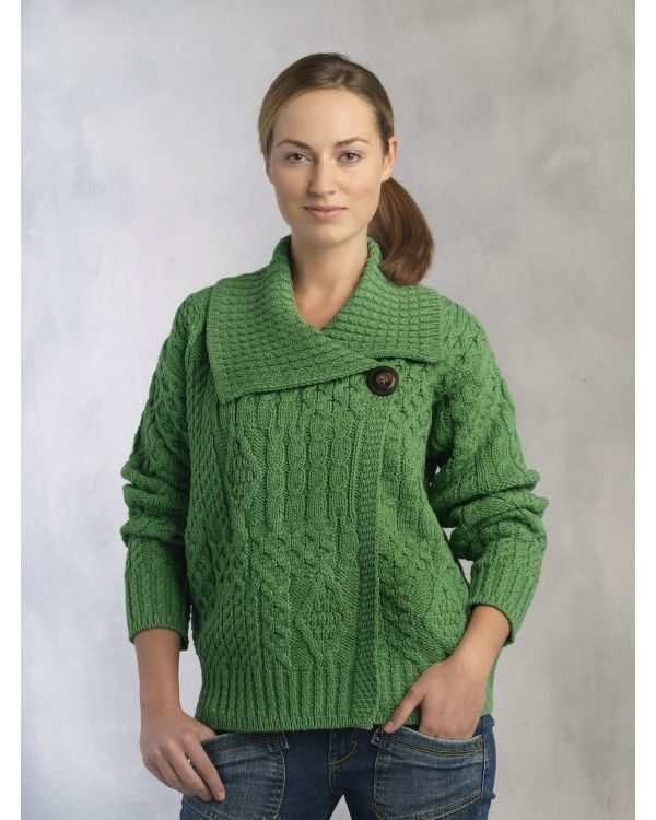 Aran Style Merino Cardigan - on a Special Offer. Perfect for St. Patrick's Day.