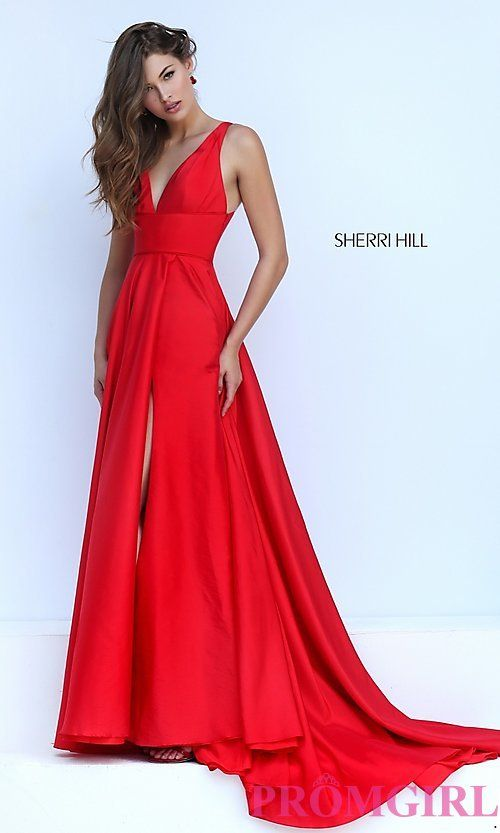 Image of long low v-neck sleeveless dress  Style: SH-50296 Front Image $350