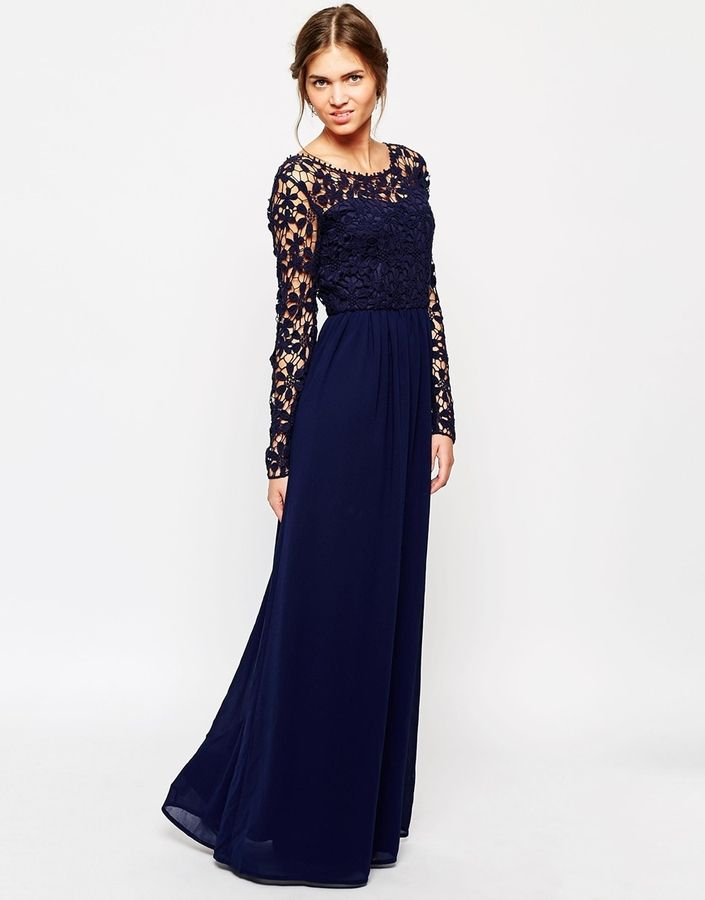 Club L Crochet Maxi Dress With Long Sleeves Navy I D