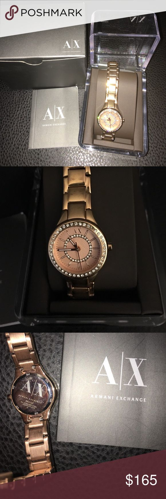 Armani Exchange Women's Rose Gold Watch Armani Exchange Women's Rose Gold watch. Purchased from Macy's dept store. Was my fav watch but finally parting with it. Don't wear it that much. Would only wear when I dressed up & special occasions! I had 1 link taken out by the store to make it tighter on my wrist. Can easily be put back in. Also will need a new battery! Also 1 of the diamonds is missing from face of watch. Can barely tell! A/X Armani Exchange Accessories Watches
